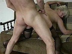 45 y.o. blonde in sexy black nylons gets ruthlessly fucked by horny young man 0 mature sex pics