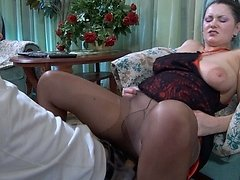 Big breasted cougar in control top pantyhose takes advantage of a young boy 0 mature sex pics