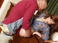 Slim chick couldn't resist taking old dude's meat 0 mature sex pics