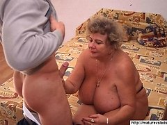 Aged big woman with huge saggy boobs enjoys crazy French love 16 mature sex pics